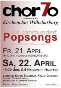 """Konzert """"Popsongs"""" am 21.4.2017 in Wilhelmsburg und am 22.4.2017 in Hainfeld, jeweils 19.30 Uhr"""