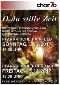 Adventsingen 2017 am 3.12.2017 in Hainfeld (16.00 Uhr) und am 15.12.2017 in Rohrbach (19.30 Uhr)