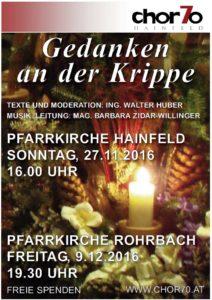 Adventsingen 2016 am 27.11.2016 in Hainfeld (16.00 Uhr) und am 9.12.2016 in Rohrbach (19.30 Uhr)