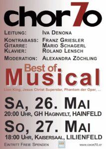 """Konzert """"Best of Musical"""" am 26.5.2018 in Hainfeld (20:00 Uhr) und am 27.5.2018 in Lilienfeld (18:00 Uhr)"""