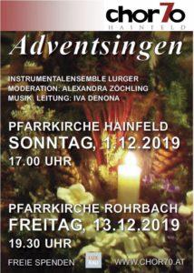 Adventsingen 2019 am So, 1.12.2019 in Hainfeld (17.00 Uhr) und am Fr, 13.12.2019 in Rohrbach (19.30 Uhr)