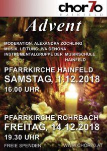 Adventsingen 2018 am SA, 1.12.2018 in Hainfeld (16.00 Uhr) und am FR, 14.12.2018 in Rohrbach (19.30 Uhr)